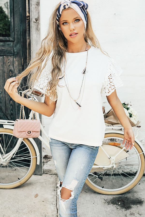 Sunshine Eyelet Shift Tee In White