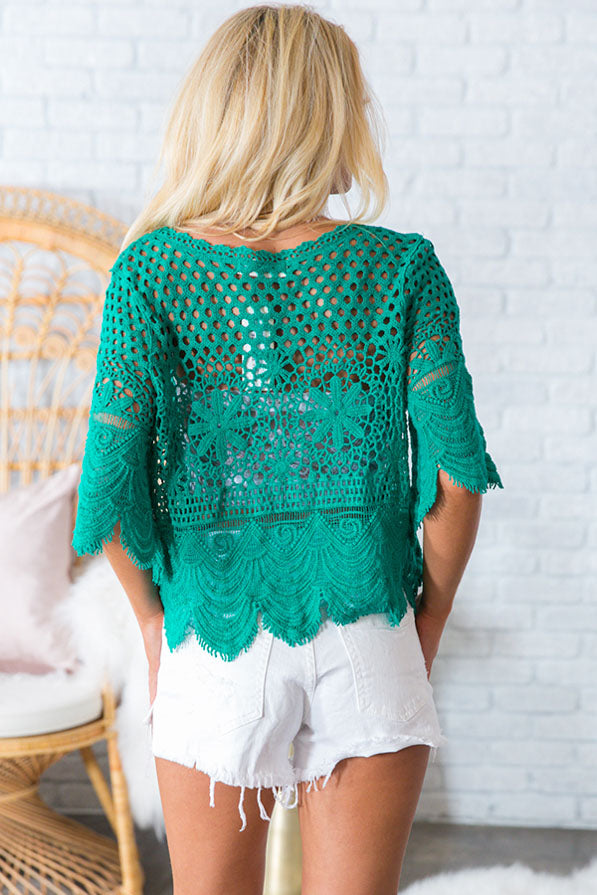 Cabana Crochet Shift Top In Emerald