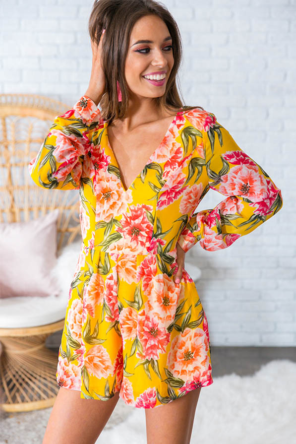 Catalina Island Floral Romper In Marigold