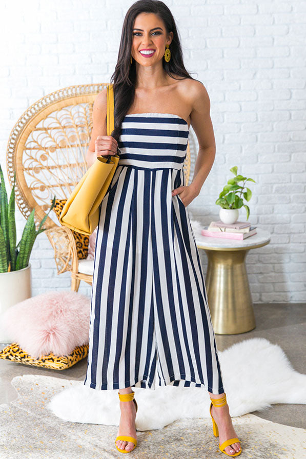 Soul Mate Stripe Jumpsuit in Navy