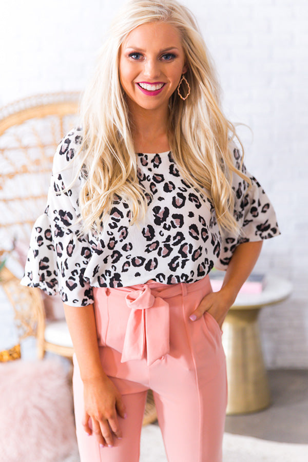 Oh So Swept Away Leopard Shift Top in Ivory