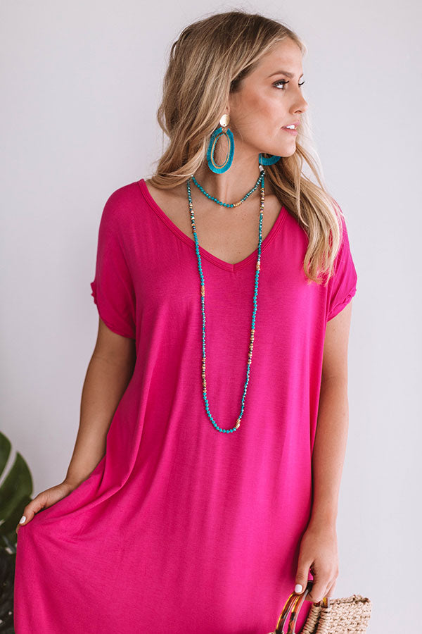 Beachy Keen T-Shirt Maxi in Hot Pink