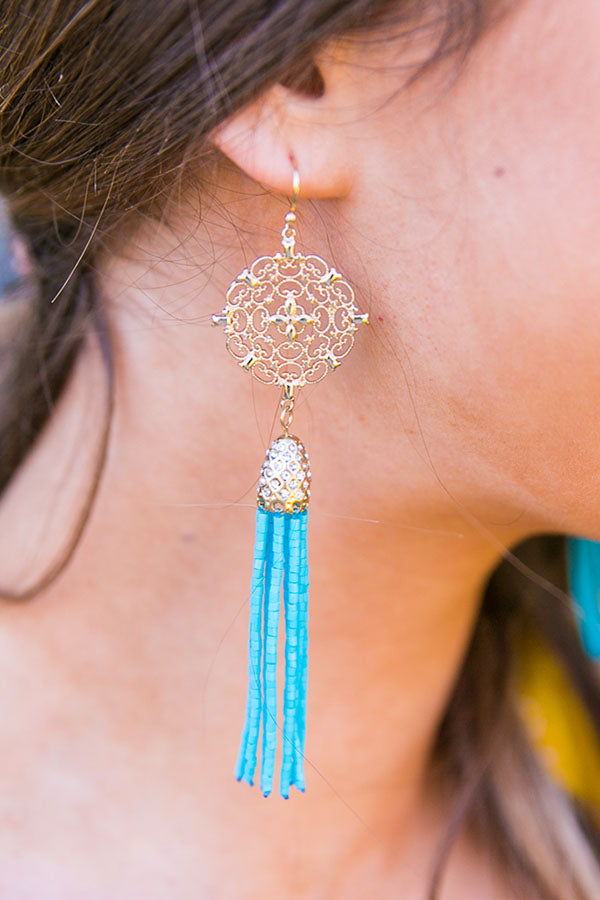 Champagne Nights Tassel Earrings in Turquoise