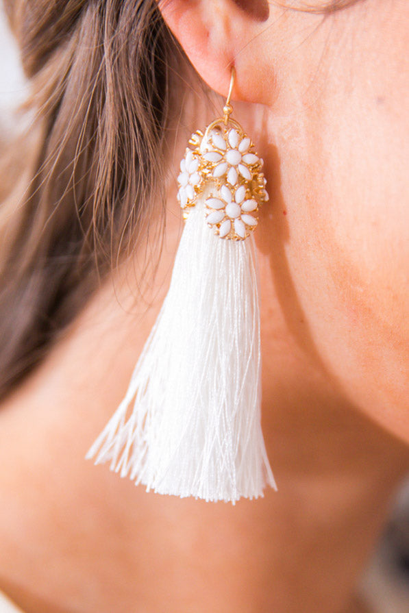 Living Out Loud Tassel Earrings In White