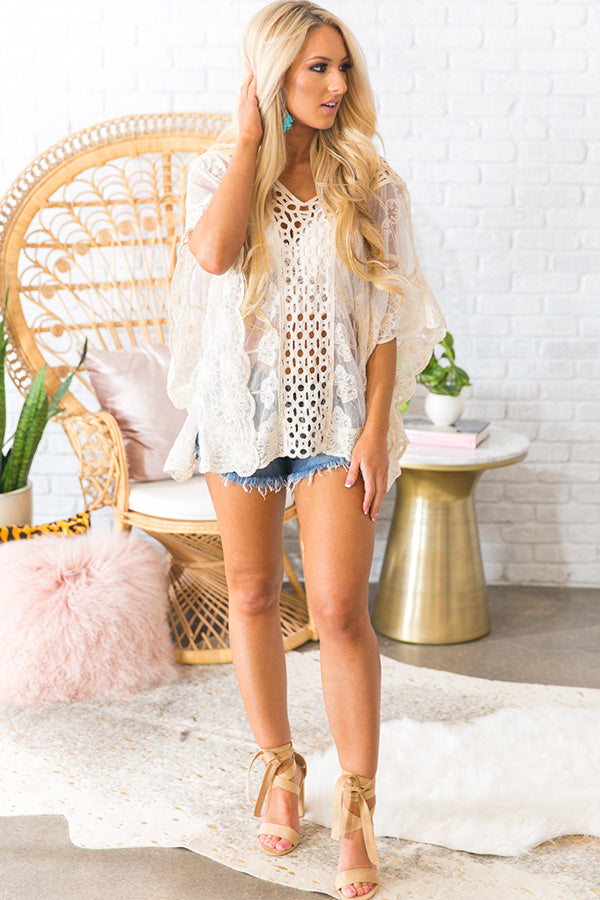 43cf75956a Beach Life Lace Shift Tunic in Cream • Impressions Online Boutique