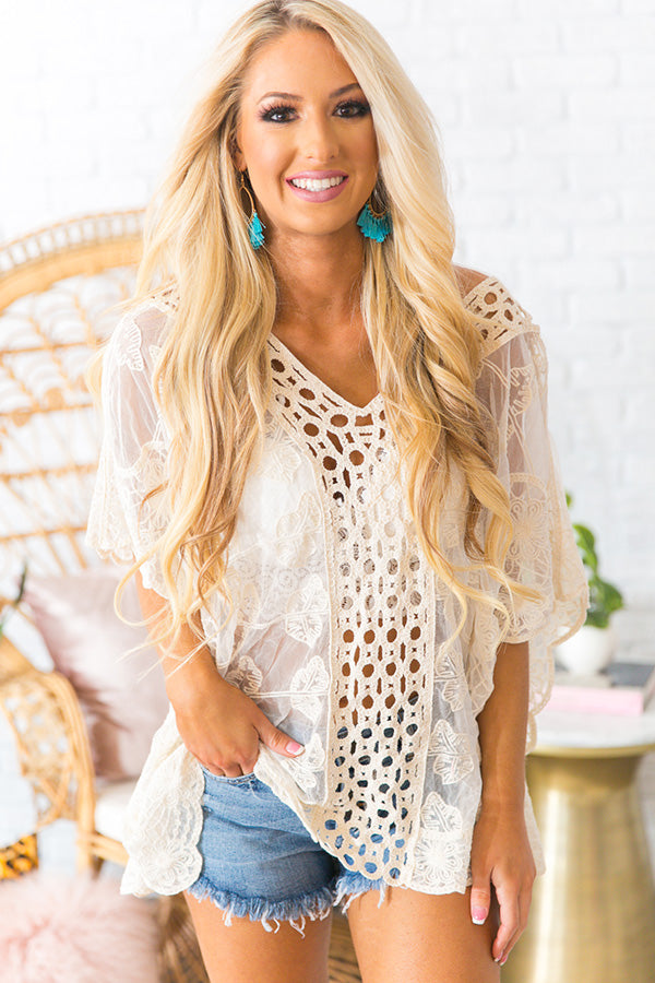 Beach Life Lace Shift Tunic in Cream