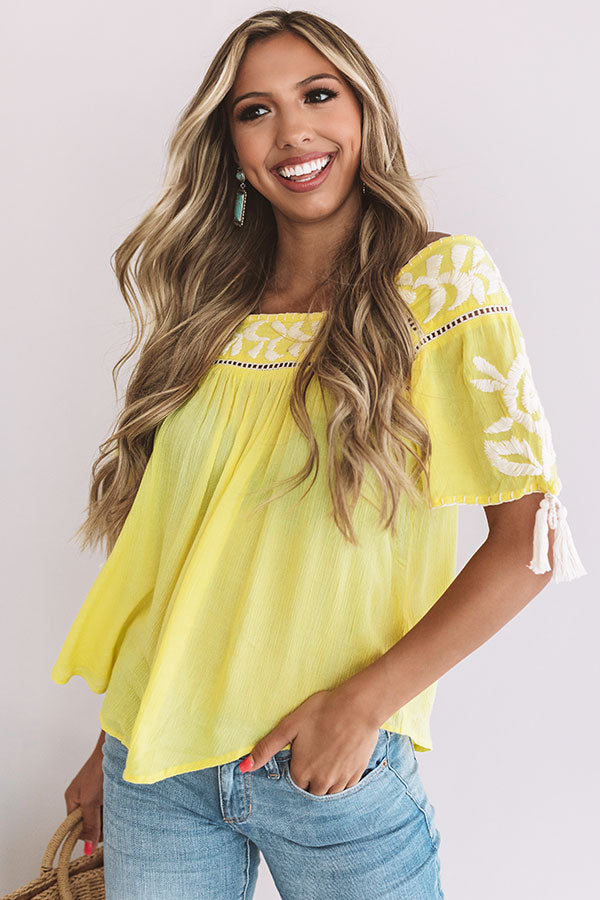 Oh Cabana Boy Embroidered Shift Top In Yellow