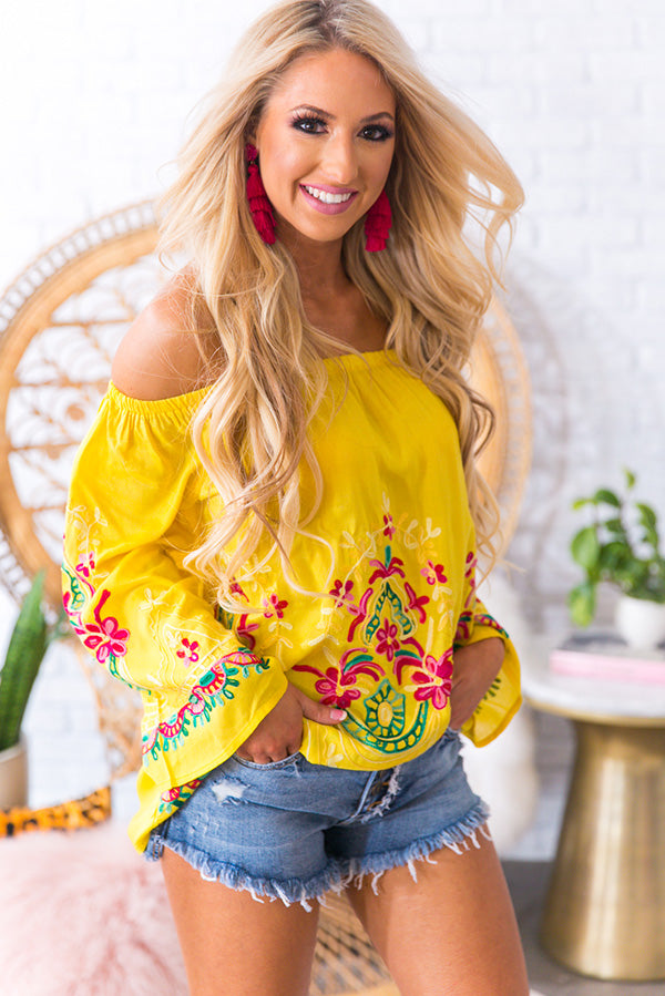 Fiesta Fabulous Embroidered Shift Top in Marigold • Impressions ...