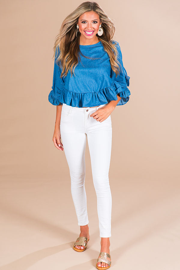 On Vacay Time Chambray Shift Top