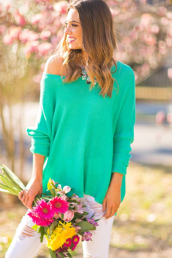 Cozy Campside Shift Sweater in Jade