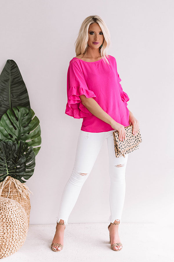 Just Breezy Shift Top In Hot Pink