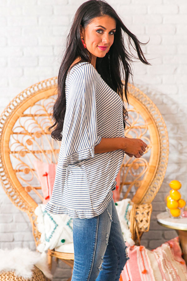 Ruffles and Romance Shift Top in Blue