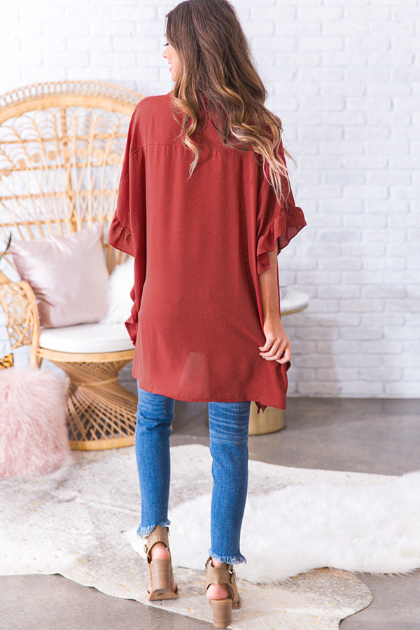 All The Frills Shift Tunic in Rustic Wine