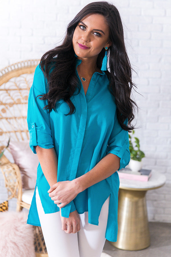 Adored By All Shift Tunic in Blue