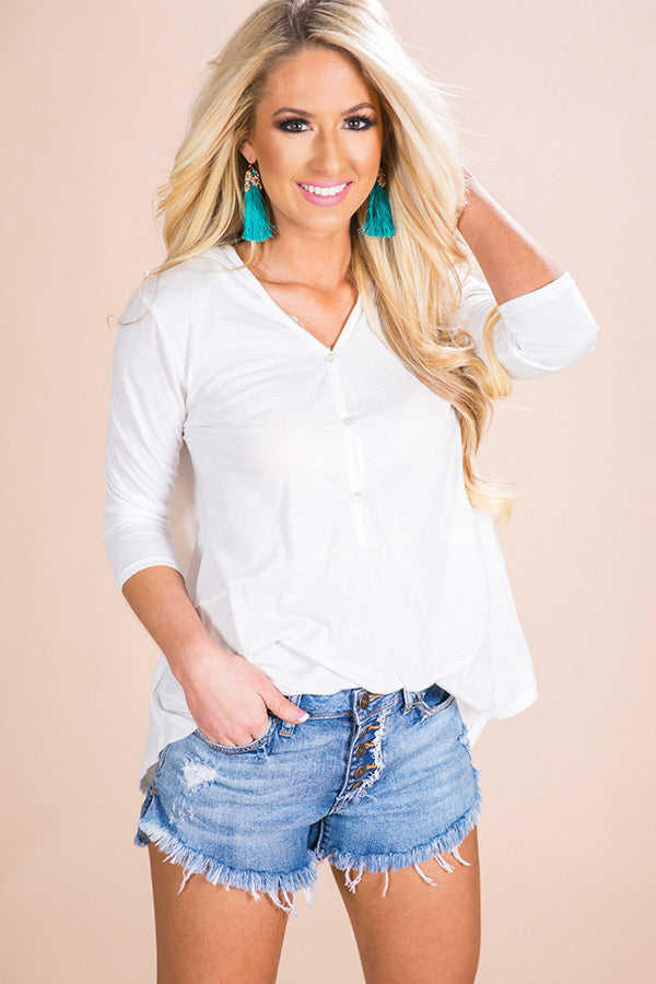 Beachside Mimosas Shift Top in Ivory