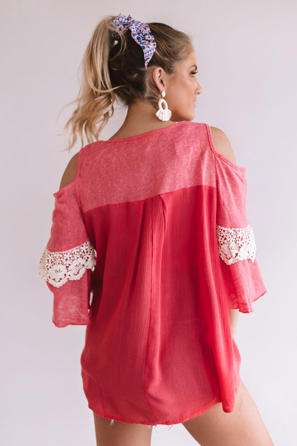 Sunny Days Ahead Shift Top in Raspberry