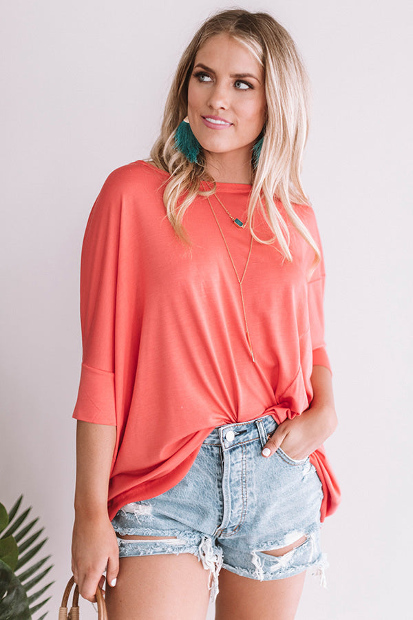 Bright Idea Shift Top in Coral