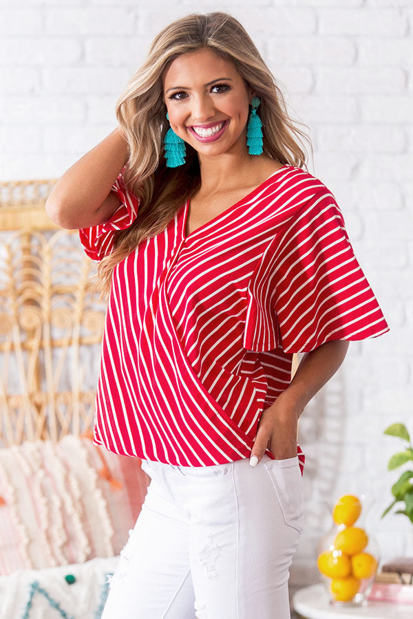Newport Nautical Shift Top in Red