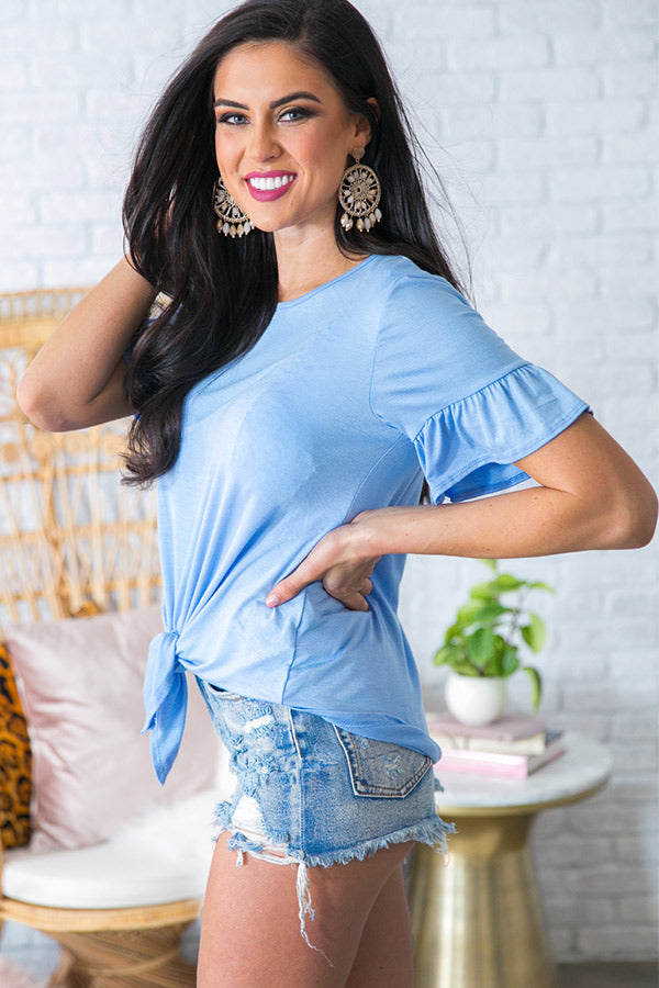 Brunching Babe Shift Top in Sky Blue