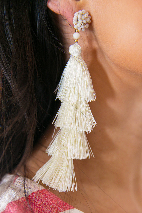 Love Song Tassel Earrings In Ivory