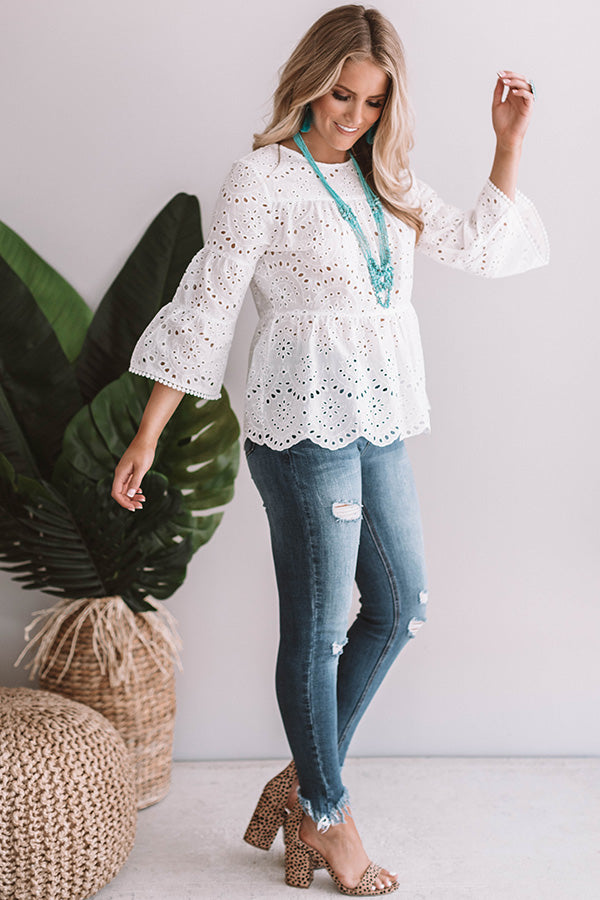 Apple Of My Eyelet Shift Top in White