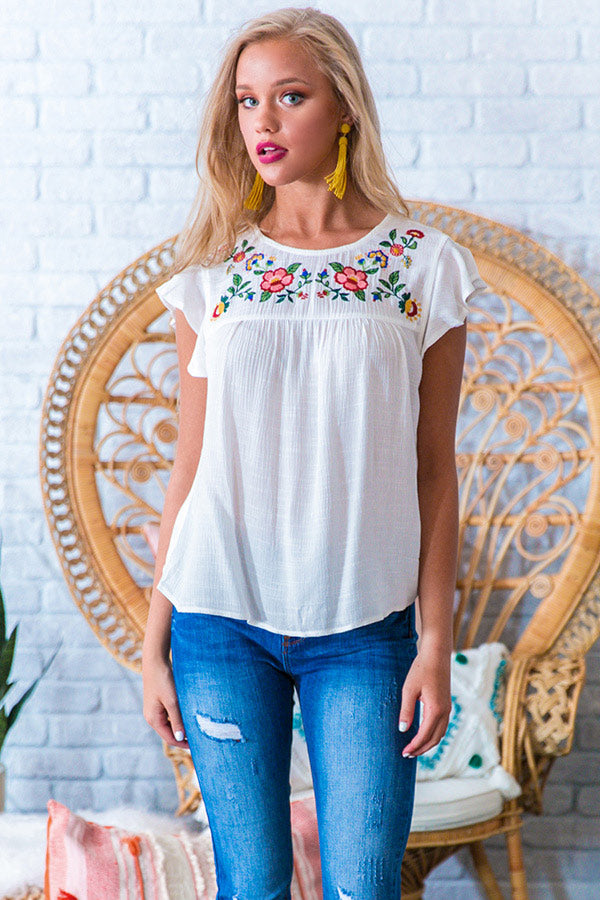 Ready For Vacay Embroidered Shift Top