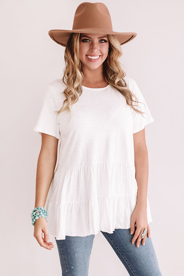 Brunch and Bubbly Shift Top in White