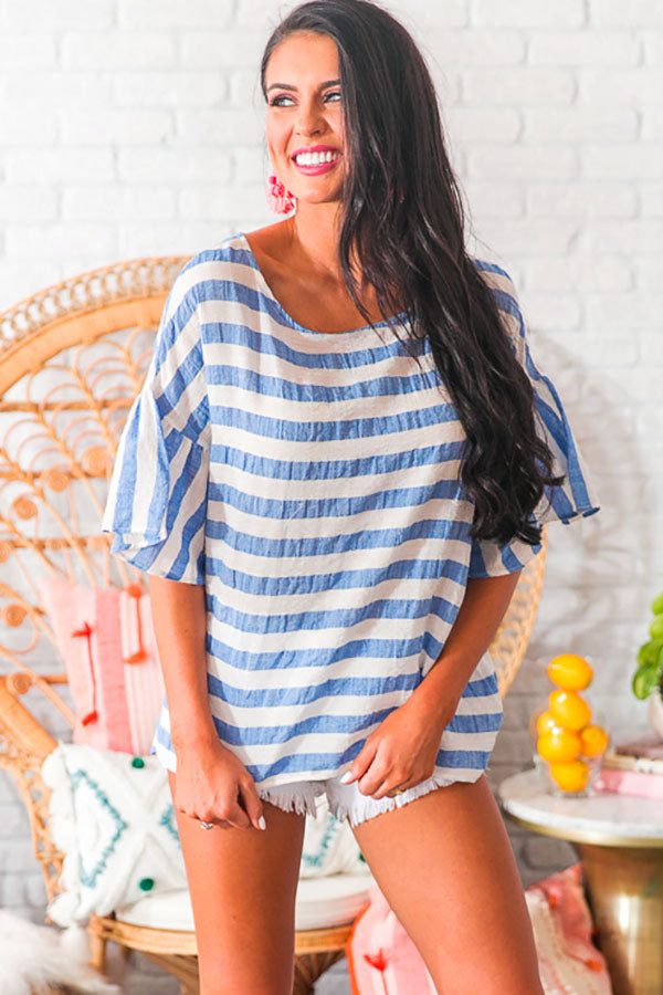 Call Me On My Haute Line Shift Top in Blue