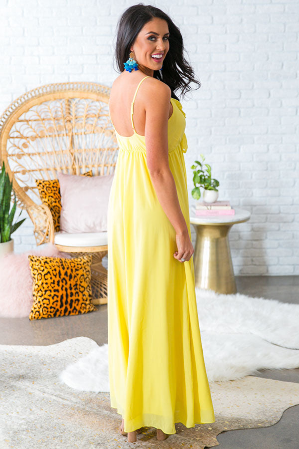 Champagne Sipping Front Tie Maxi in Yellow