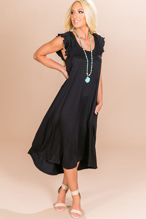 Beachside T-shirt Midi in Black