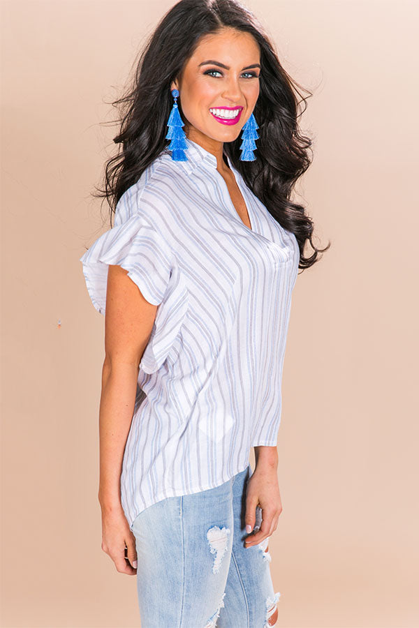 Girl Talk Stripe Ruffle Top