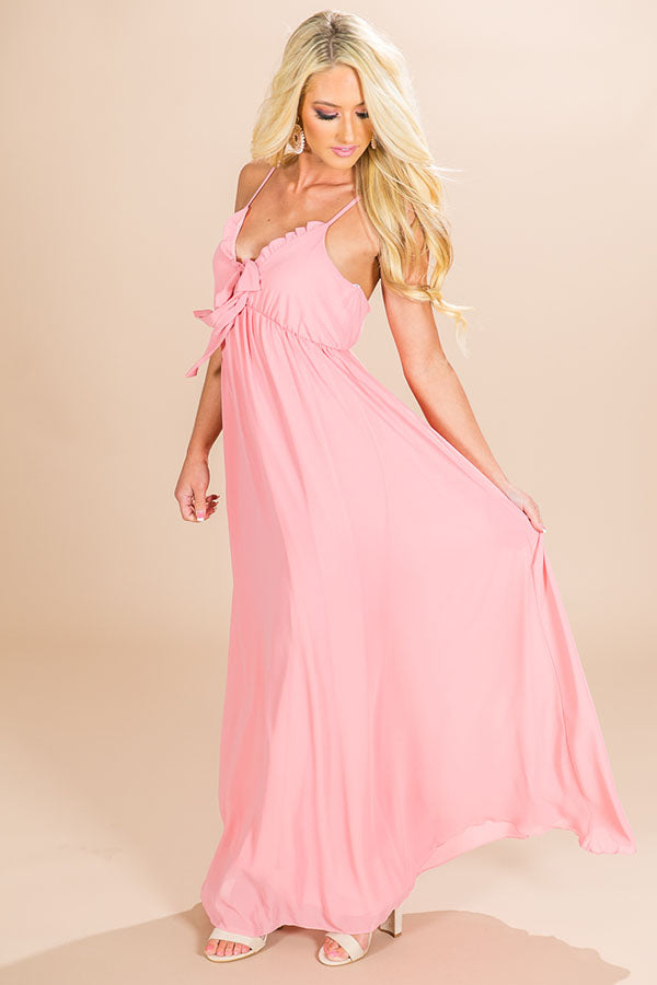 Champagne Sipping Front Tie Maxi in Pink
