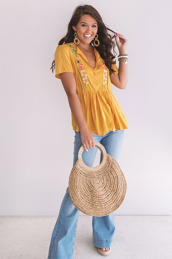 Meet Me For Margs Embroidered Top in Honey
