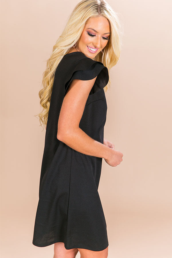 Throw A Curve Shift Dress in Black