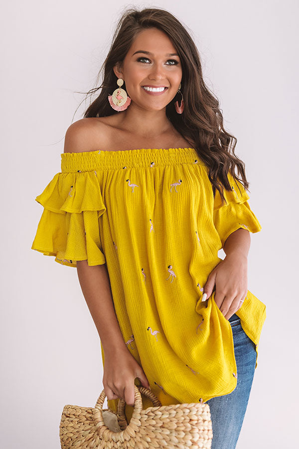 Flamingo Babe Off Shoulder Embroidered Top in Mustard