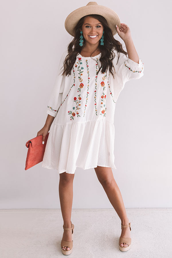 Paradise Island Embroidered Dress in Cream