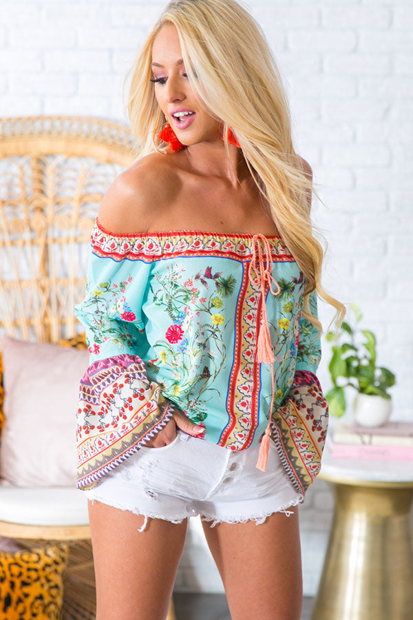 Cabana Babe Off Shoulder Top in Mint