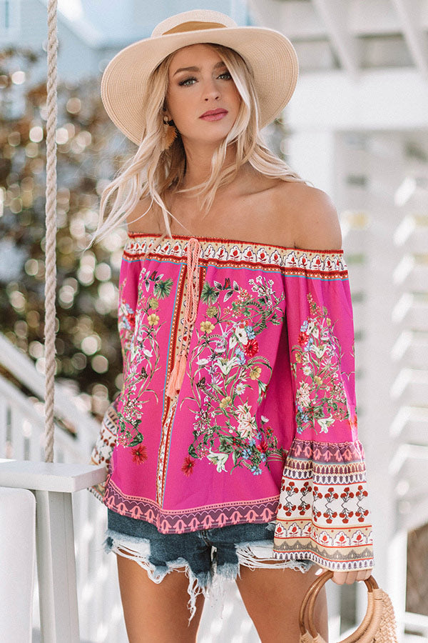 Cabana Babe Off Shoulder Top in Hot Pink