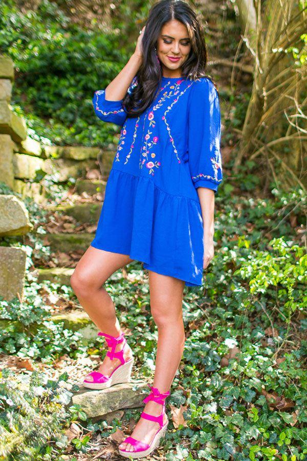 Paradise Island Embroidered Dress in Royal Blue