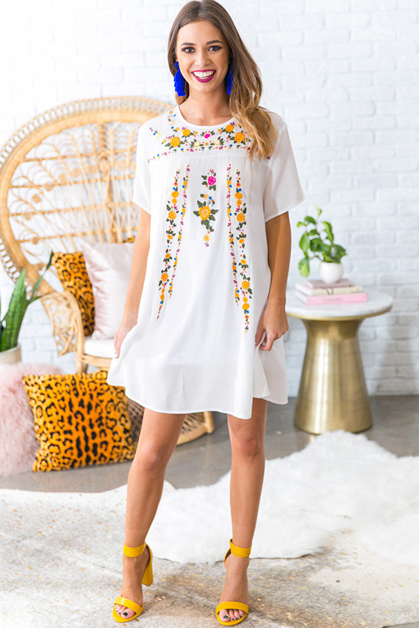 Pina Colada Please Embroidered Shift Dress in White