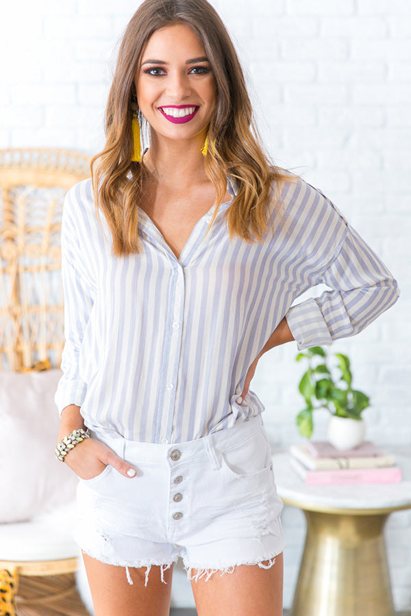 Nine To Wine Stripe Top in Navy