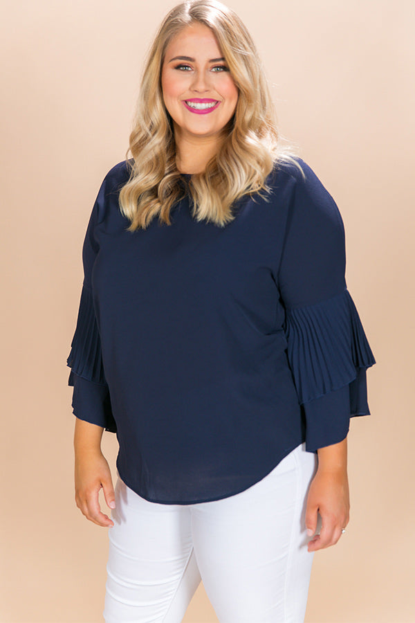 Happy Hour Shift Top in Navy