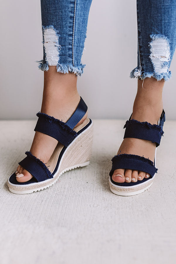 Vacation Friendly Wedge in Navy