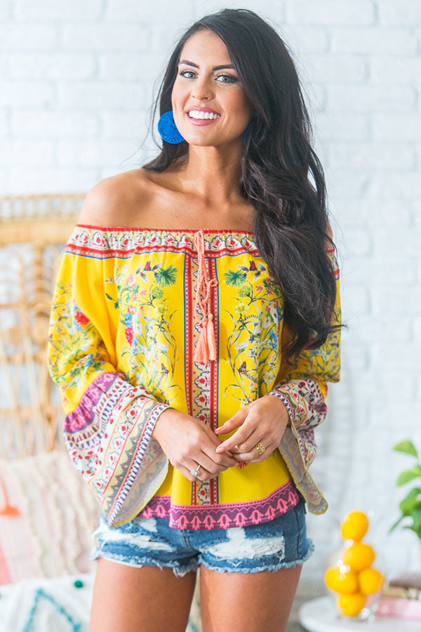 Cabana Babe Off Shoulder Top in Marigold