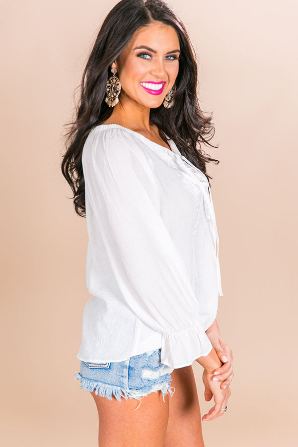 Seaside Livin' Off Shoulder Shift Top in White