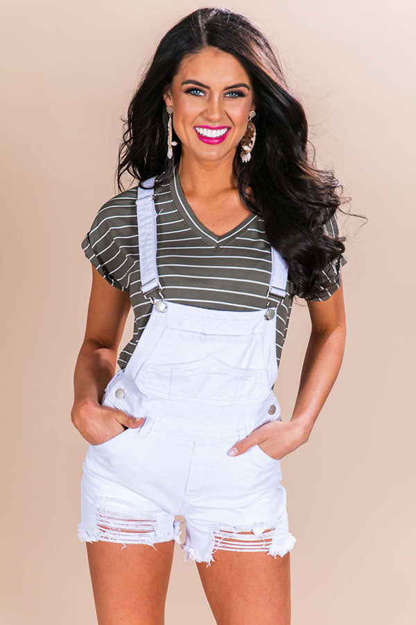Out Of Pocket Distressed Denim Overall in White