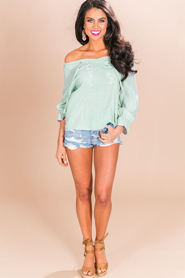 Seaside Livin' Off Shoulder Shift Top in Pear