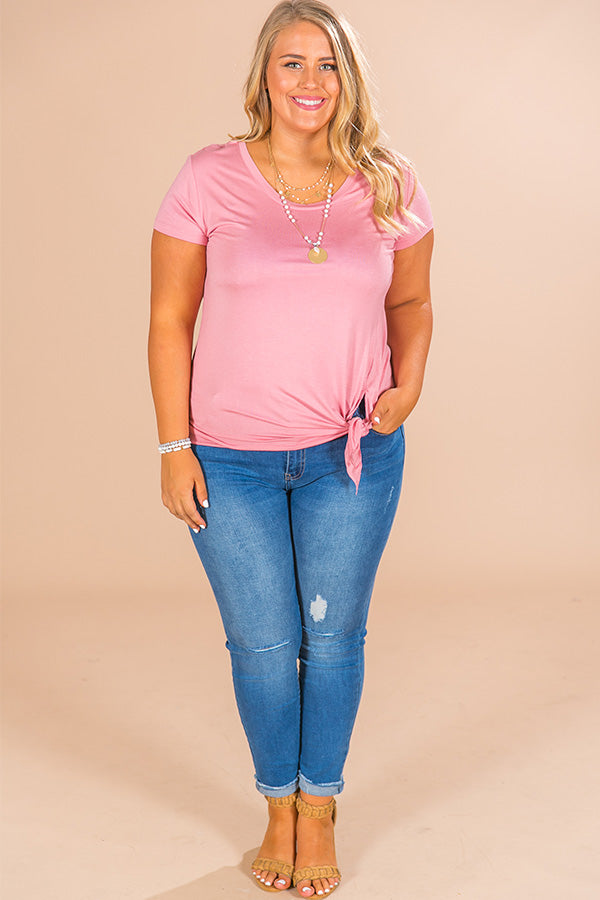 Margarita Babe Front Tie Shift Tee in Pink