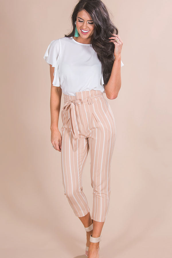 Beachy Chic Stripe Trousers in Tan