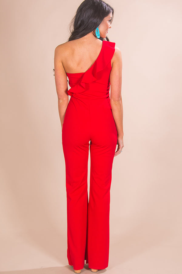 Charleston Chic One Shoulder Jumpsuit in Red